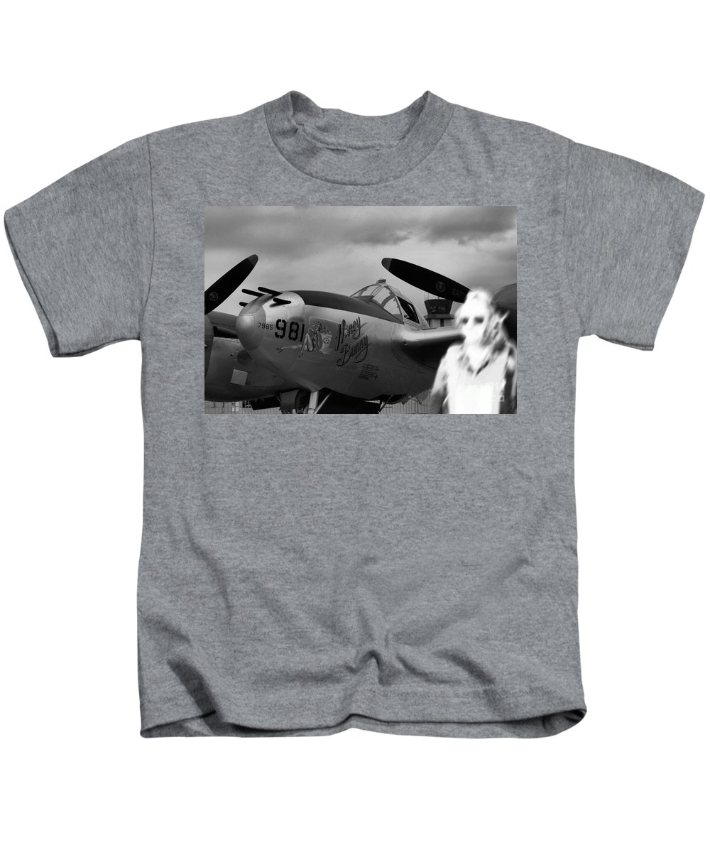 P-38 Kids T-Shirt featuring the photograph Lighting Ghost Flight by Tommy Anderson