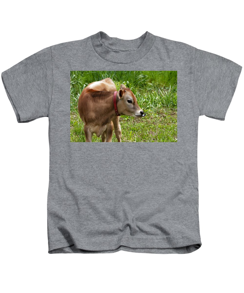 Calf Kids T-Shirt featuring the photograph Lil Bull by Donald Crosby