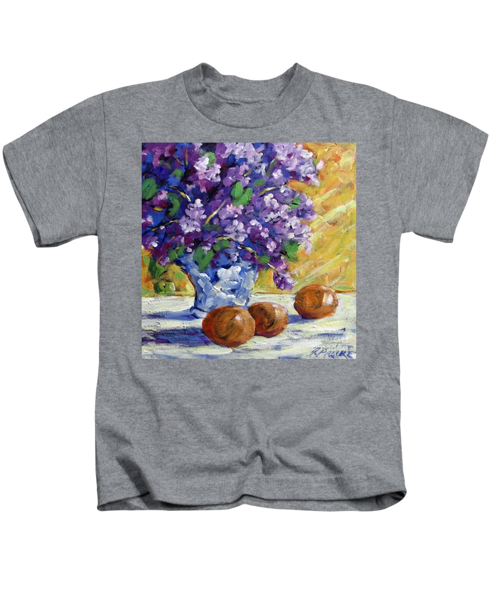 Art Kids T-Shirt featuring the painting Lilac by Richard T Pranke