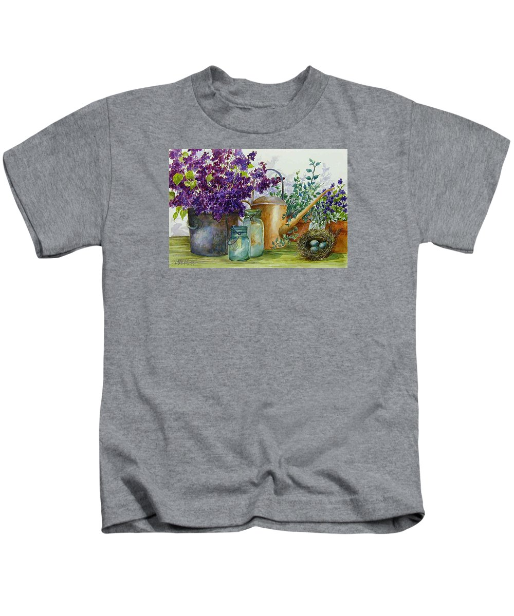 Still Life;lilacs; Ball Jars; Watering Can;bird Nest; Bird Eggs; Kids T-Shirt featuring the painting Lilacs And Ball Jars by Lois Mountz