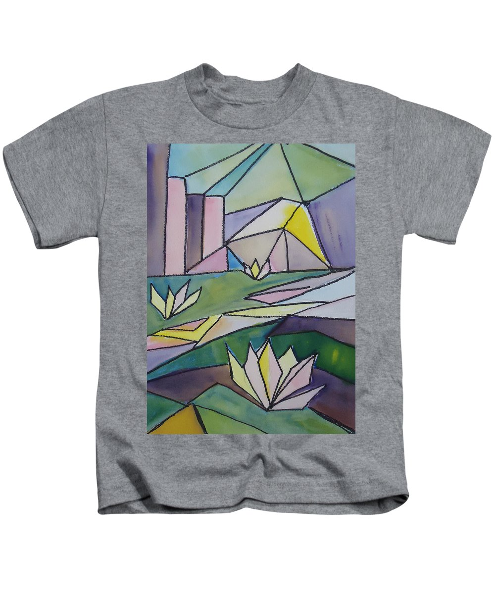 Lilly Are Shaped In Abstract Form. Abstract Kids T-Shirt featuring the mixed media Lilly Pond by Charme Curtin
