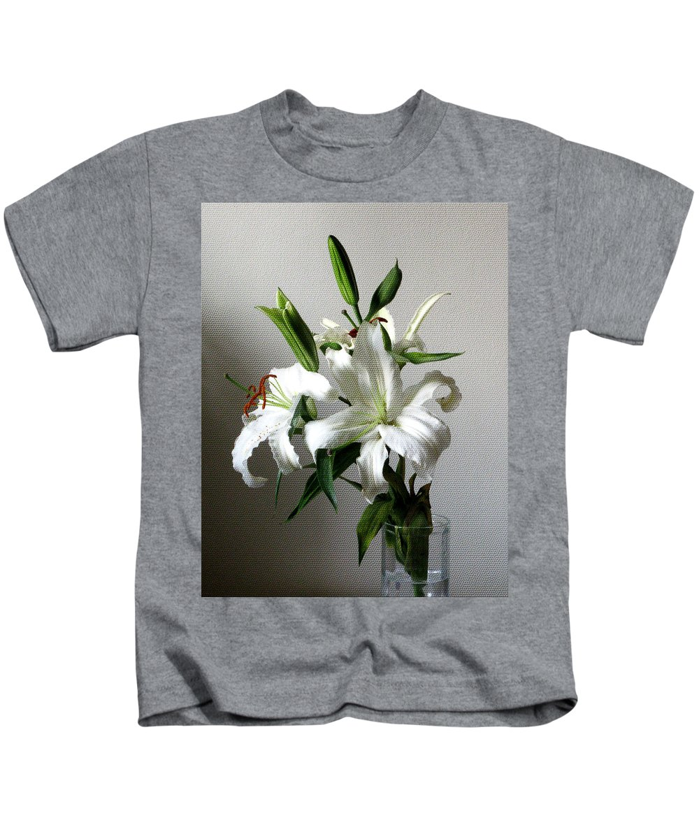 White Flower Kids T-Shirt featuring the digital art Lily Flower by Christopher Shellhammer