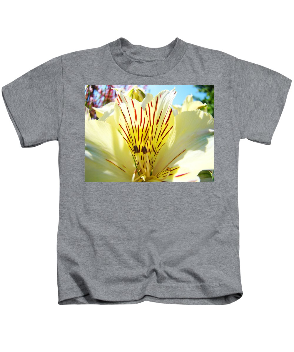 Lilies Kids T-Shirt featuring the photograph Lily Flowers Art Prints Yellow Lillies 2 Giclee Prints Baslee Troutman by Baslee Troutman