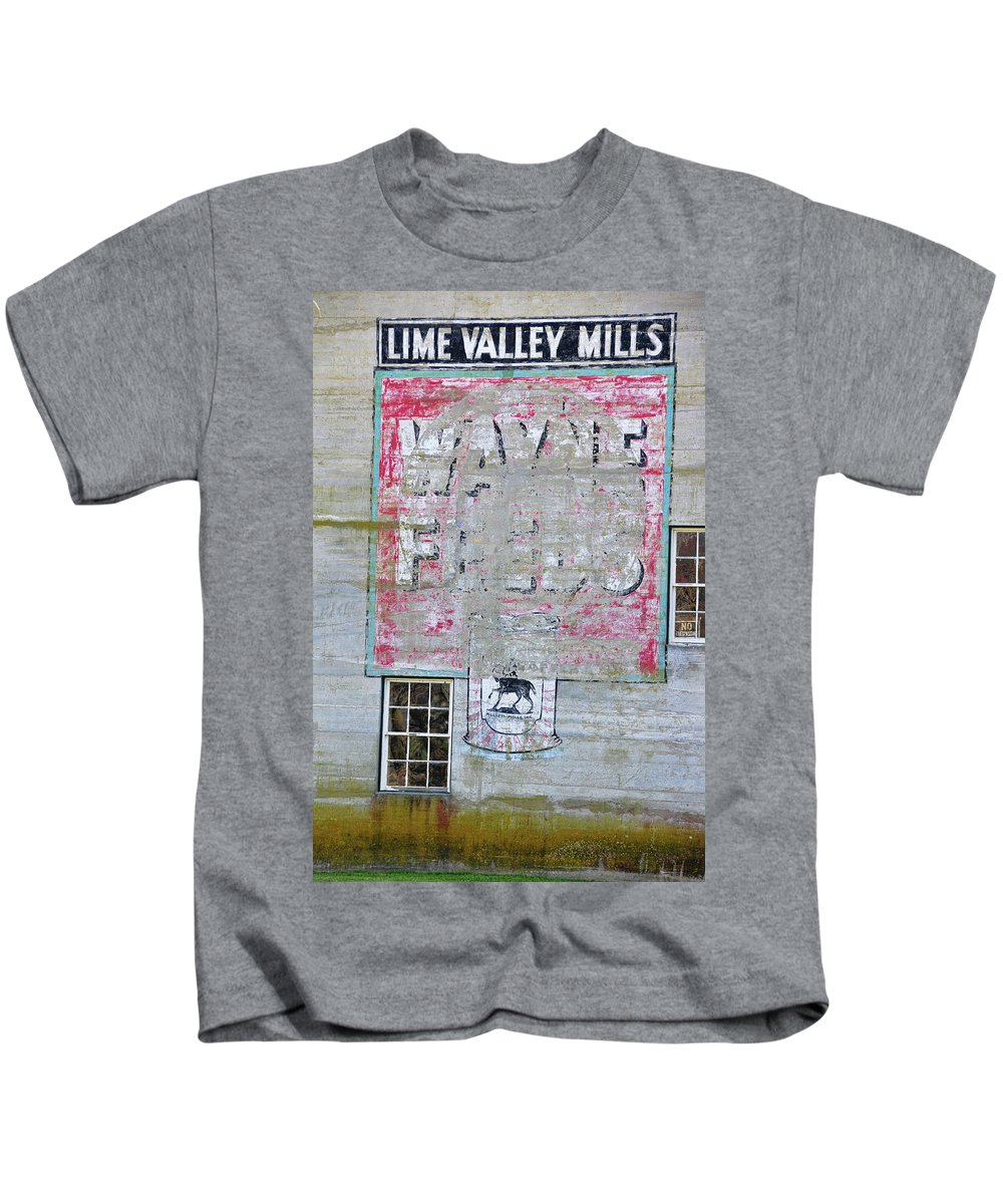 Sign Kids T-Shirt featuring the photograph Lime Valley Mills by David Arment
