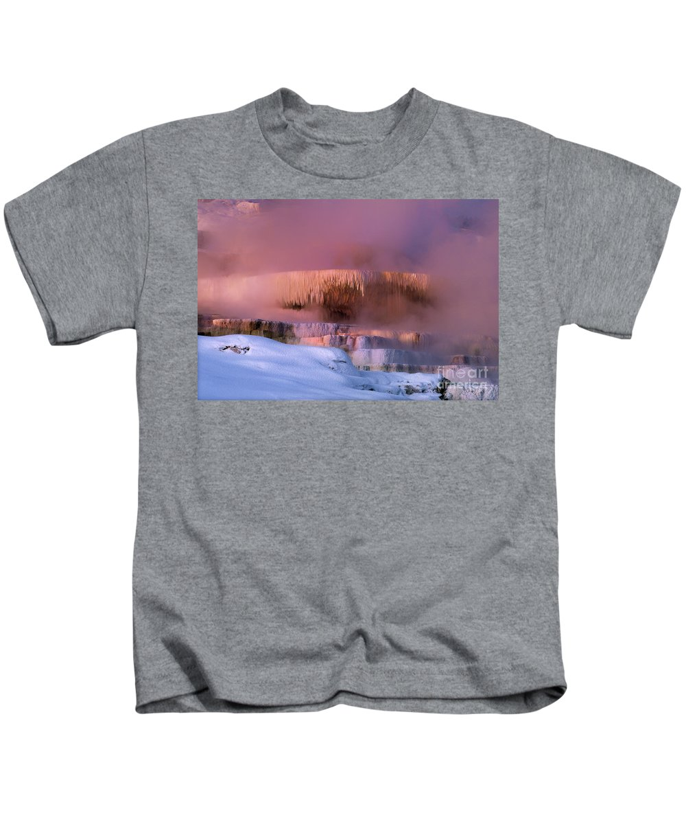 North America Kids T-Shirt featuring the photograph Limestone Artwork Minerva Springs Yellowstone National Park by Dave Welling