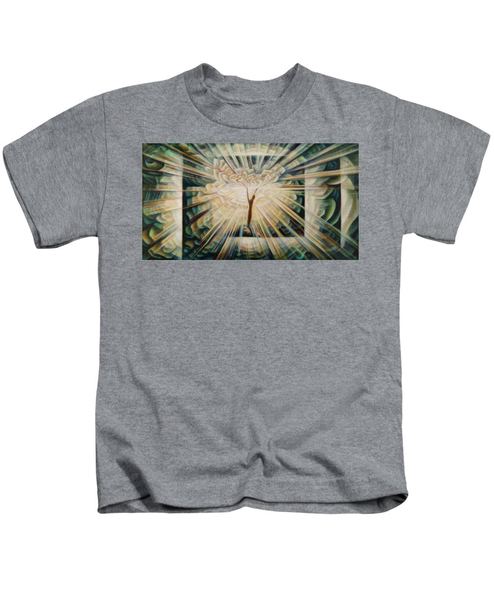 Spiritual Paintings Kids T-Shirt featuring the painting Limitless by Nad Wolinska