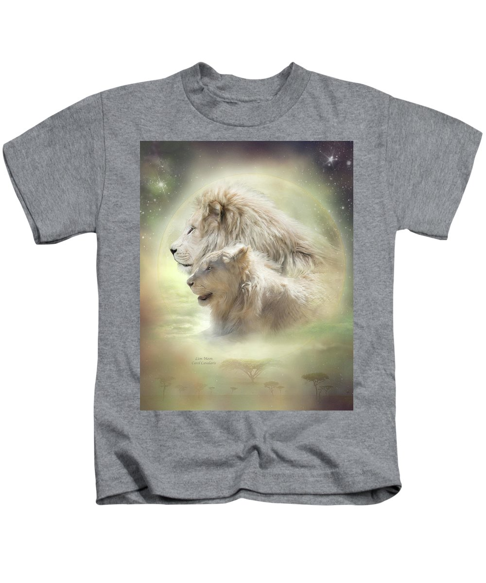 Lion Art Kids T-Shirt featuring the mixed media Lion Moon by Carol Cavalaris