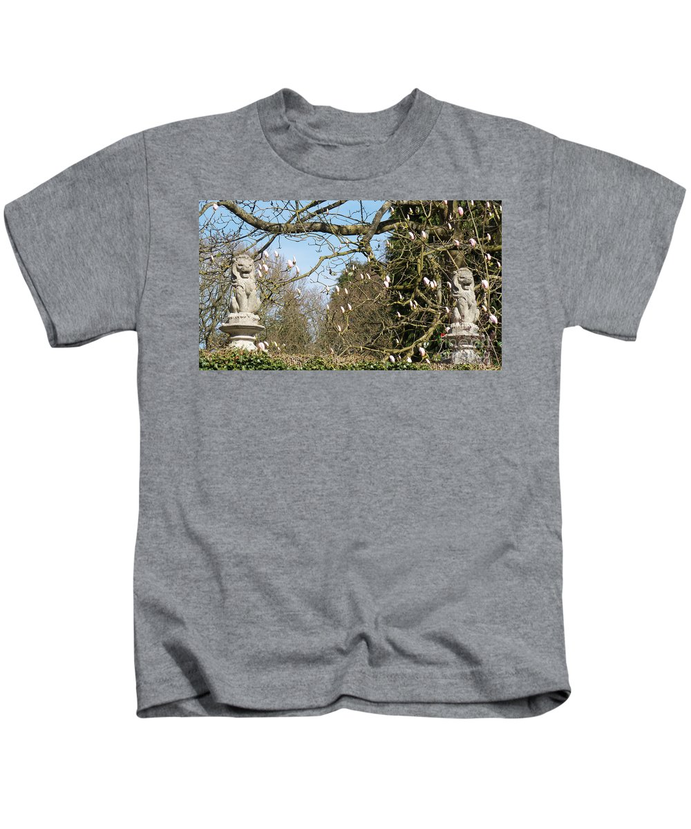 Lion Kids T-Shirt featuring the photograph Lions Guarding Garden by Francesca Mackenney