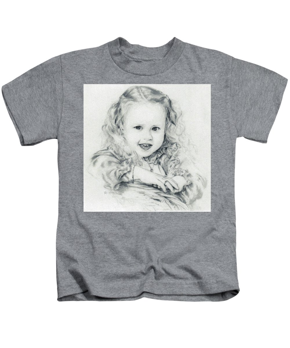 Portrait Kids T-Shirt featuring the drawing Lisa by Rachel Christine Nowicki
