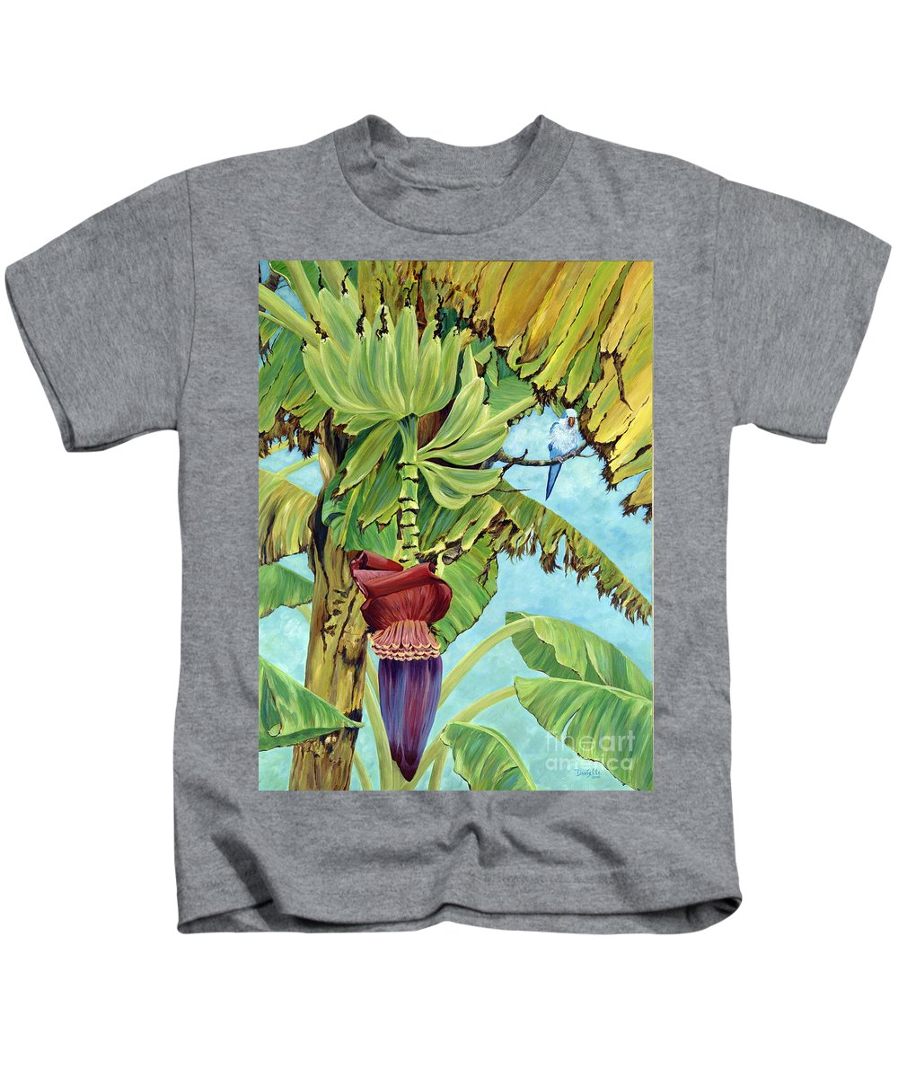 Tropical Kids T-Shirt featuring the painting Little Blue Quaker by Danielle Perry