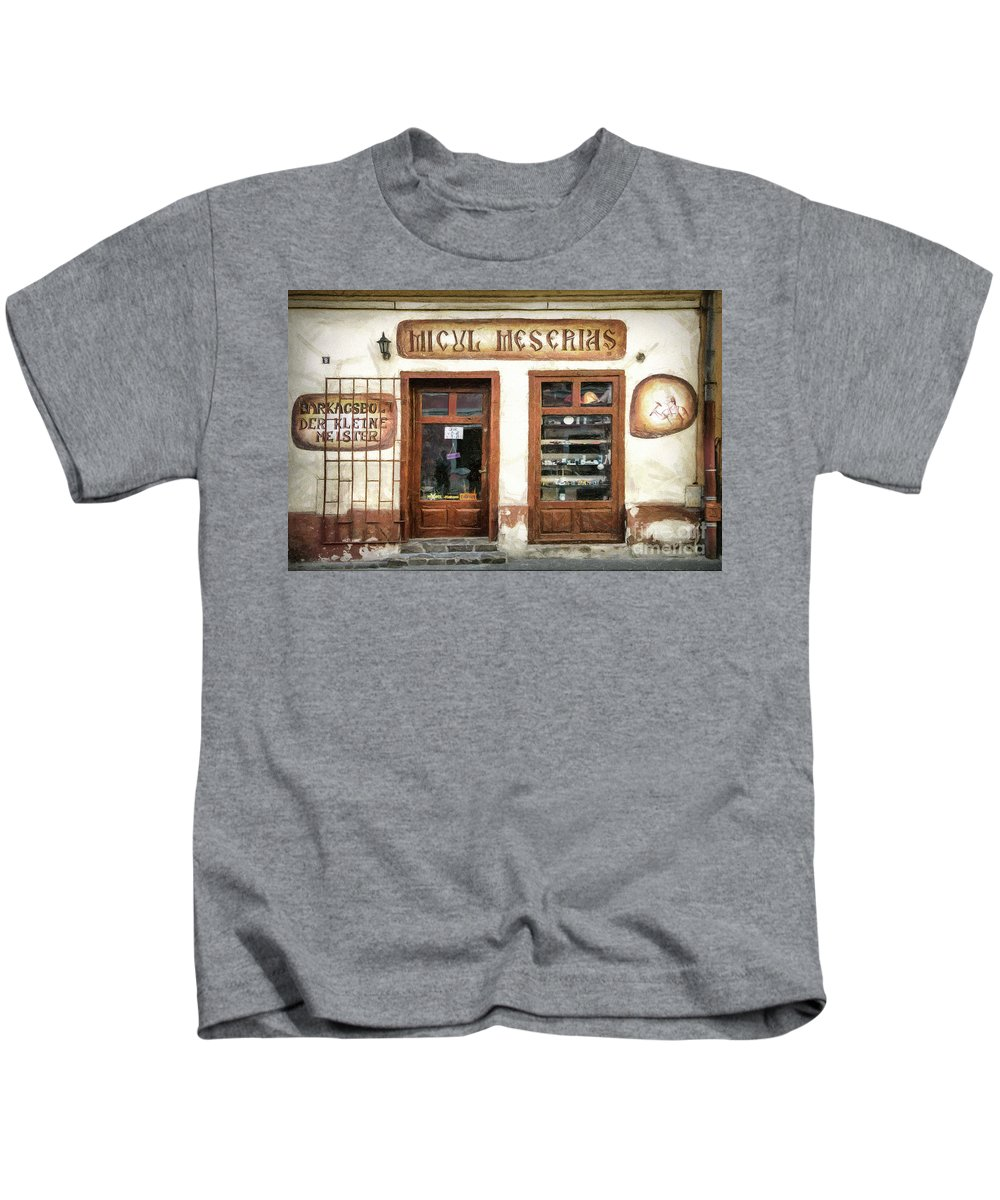 Craftsman Kids T-Shirt featuring the drawing Little Craftsman' Shop - Micul Meserias by Daliana Pacuraru