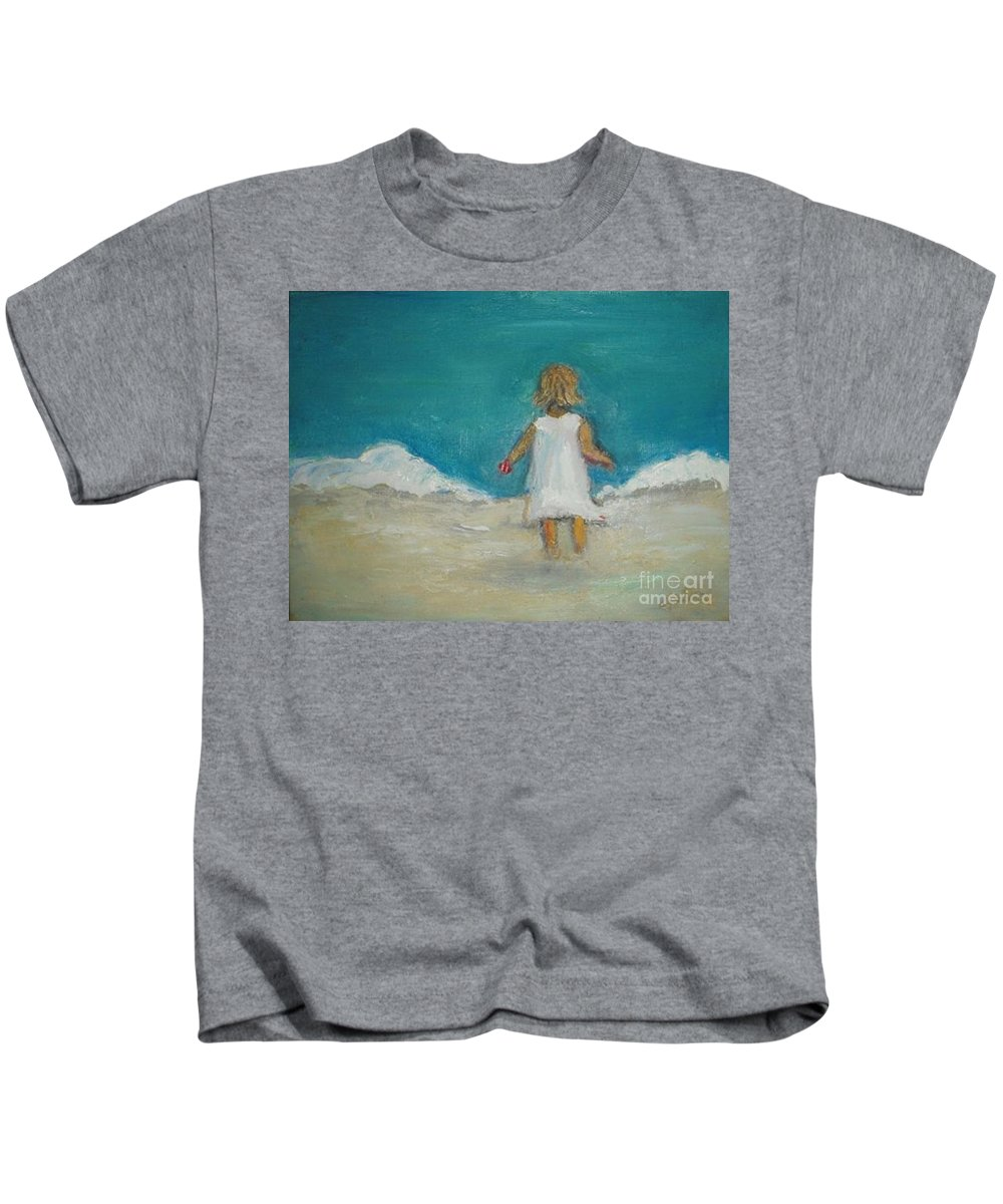 Beach Kids T-Shirt featuring the painting Little Girl Playing On Beach by Vesna Antic
