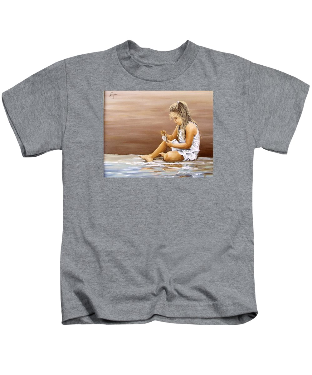 Children Girl Sea Shell Seascape Water Portrait Figurative Kids T-Shirt featuring the painting Little Girl With Sea Shell by Natalia Tejera