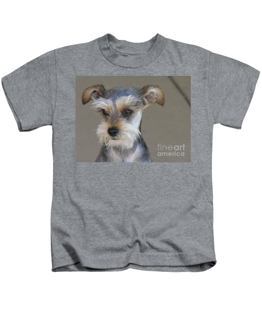 Schnausher Kids T-Shirt featuring the photograph Little Guy by Diane Greco-Lesser