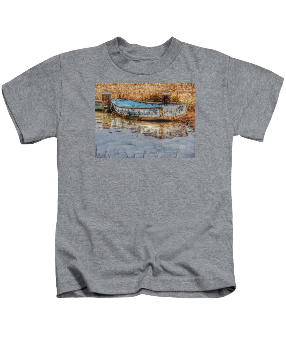 Boats Kids T-Shirt featuring the photograph Little Wooden Boat by Emily Sosa