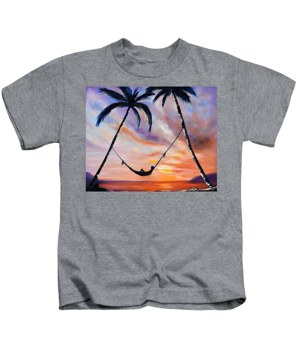Sunset Kids T-Shirt featuring the painting Living the Dream by Gina De Gorna