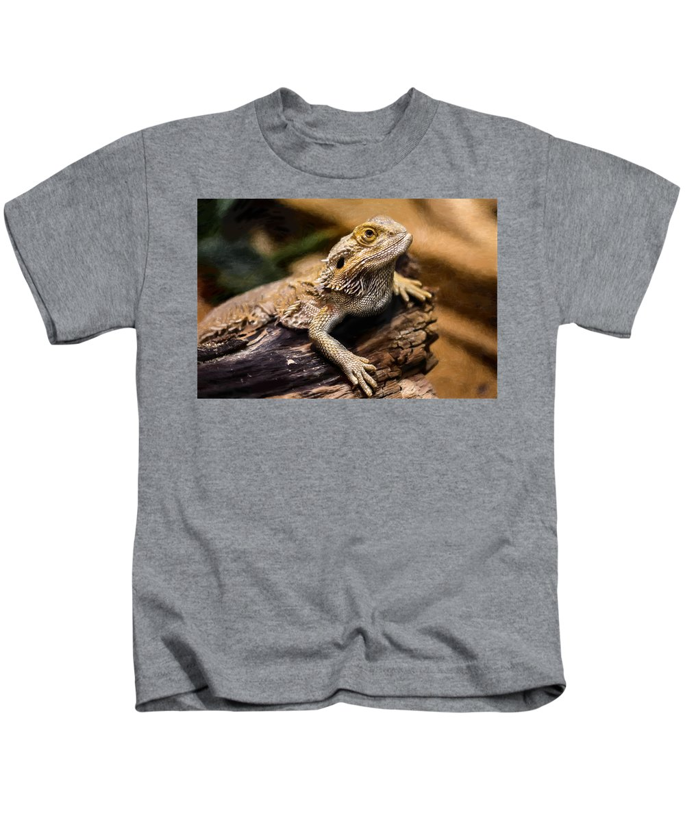 Dry Kids T-Shirt featuring the painting Lizard - Id 16217-202733-1873 by S Lurk