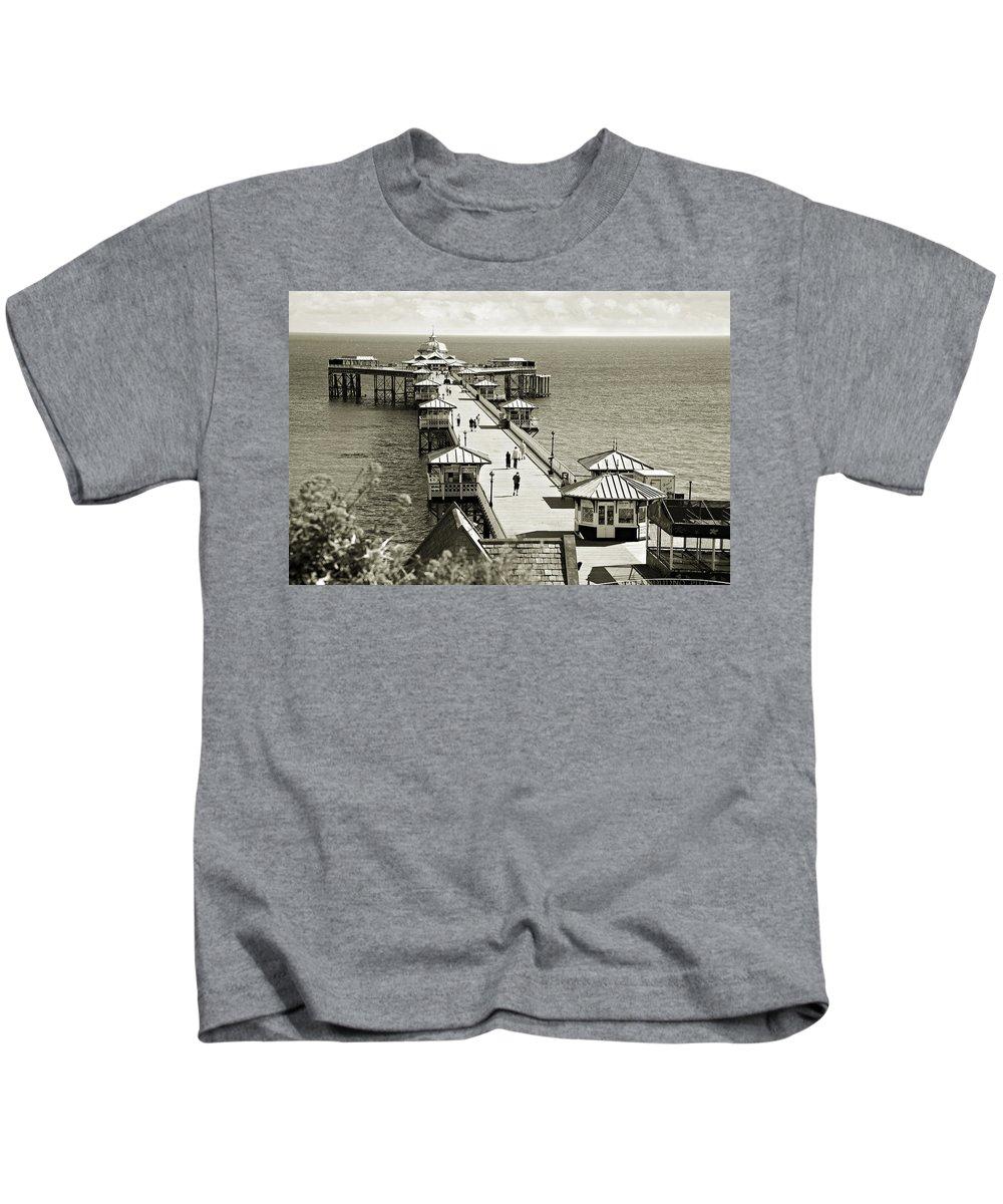 Pier Kids T-Shirt featuring the photograph Llandudno Pier North Wales Uk by Mal Bray