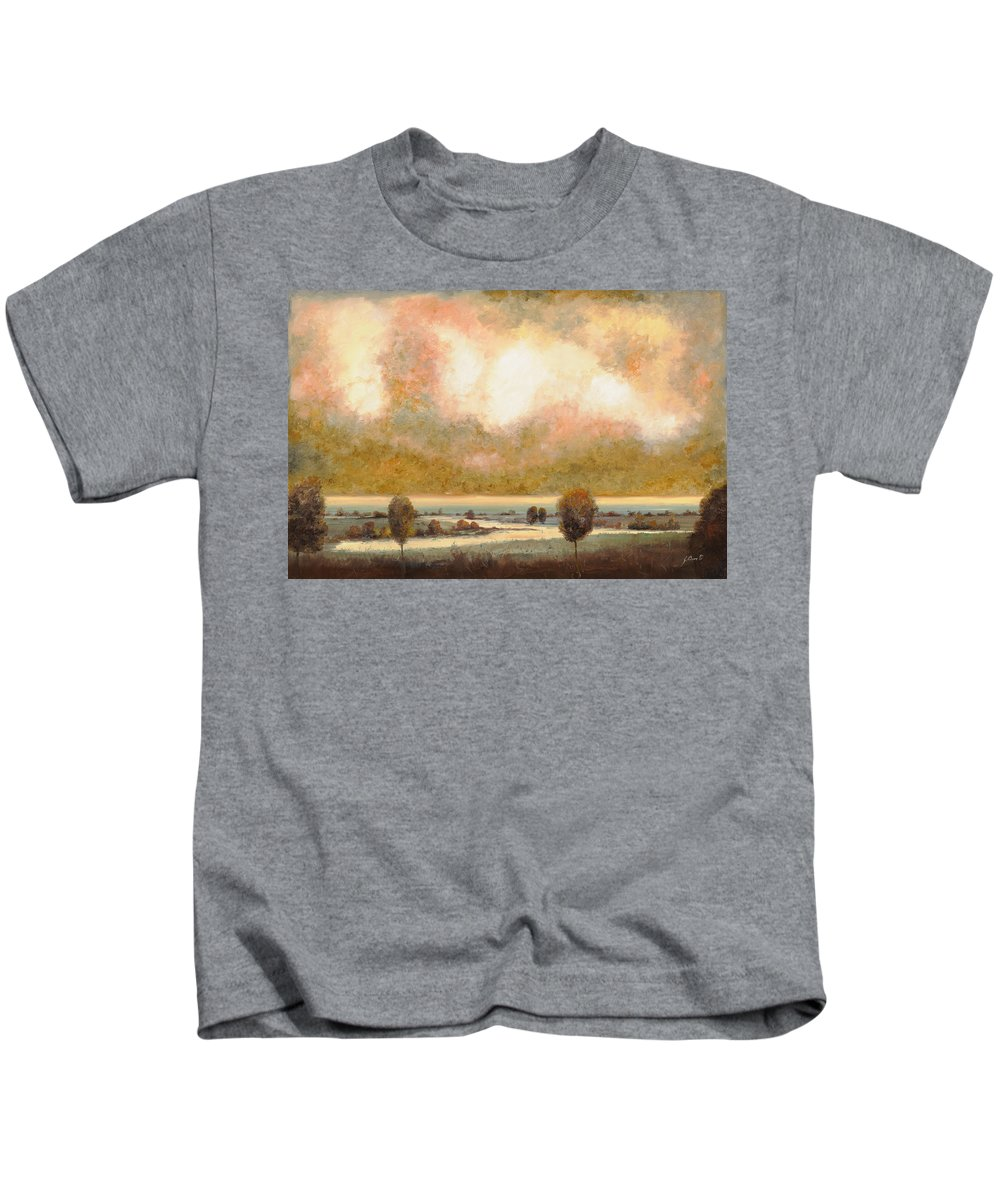 Pond Kids T-Shirt featuring the painting Lo Stagno Sotto Al Cielo by Guido Borelli