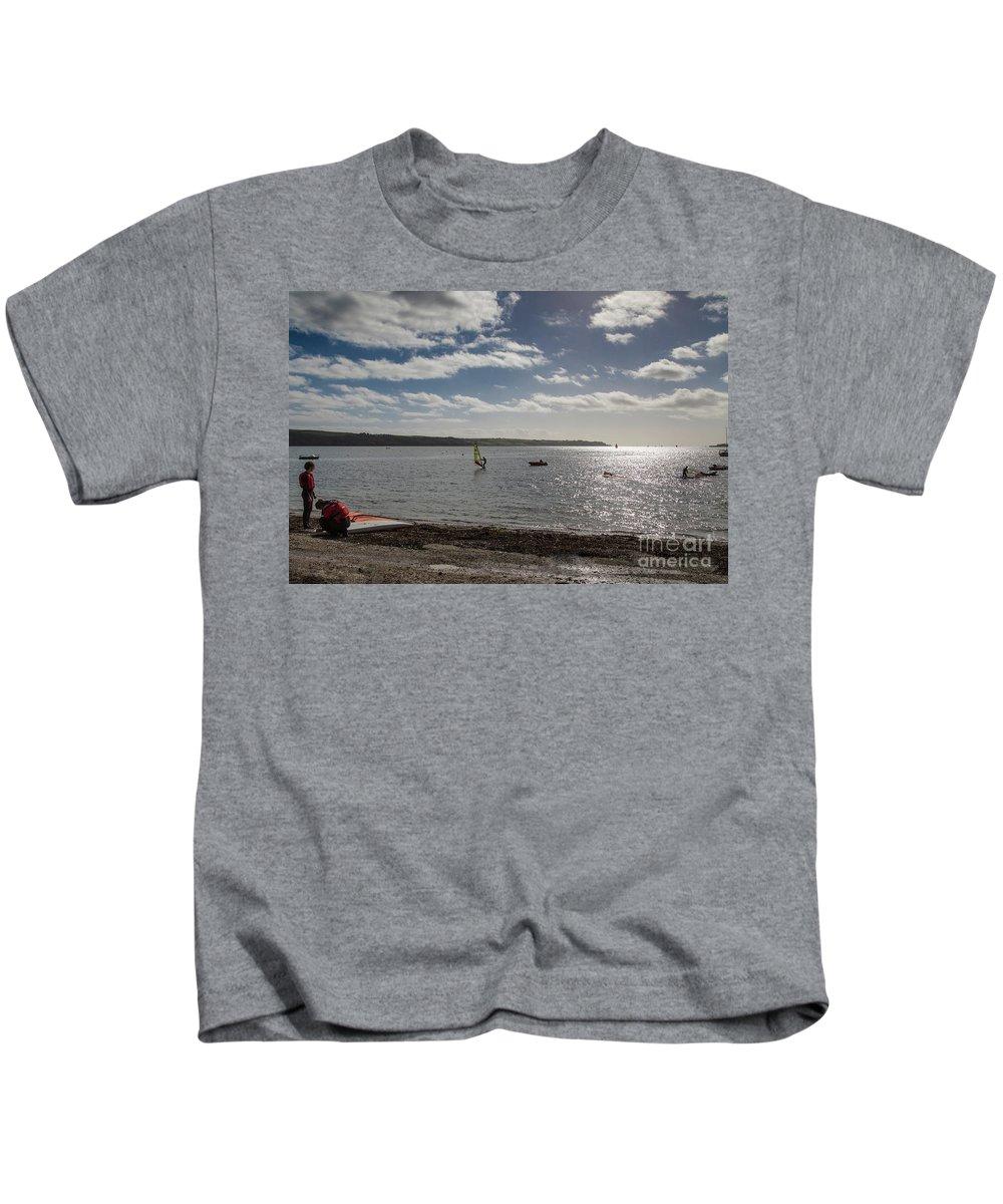 Photographs Kids T-Shirt featuring the photograph Loe Beach Windsurfers by Brian Roscorla