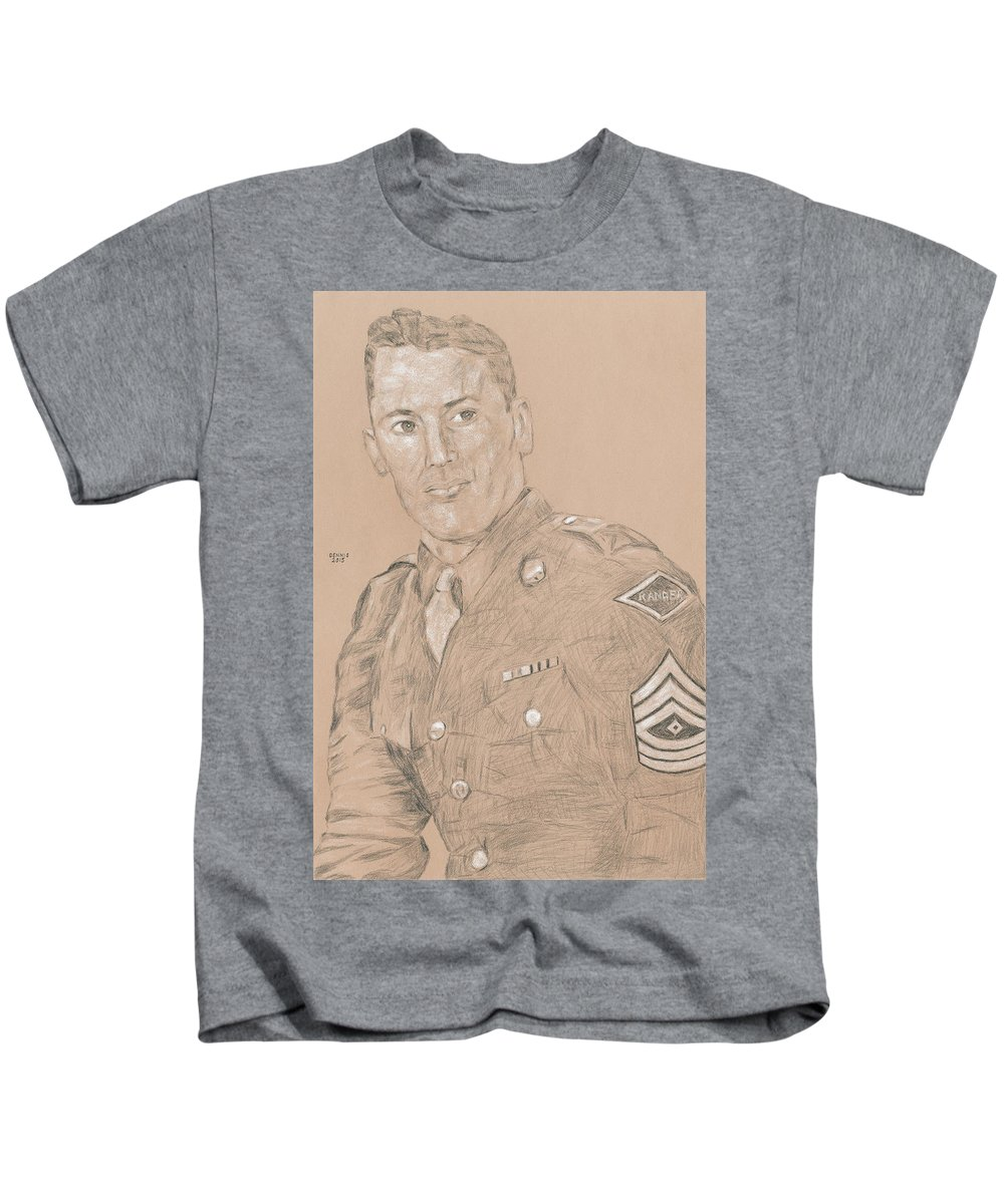 Lomell Kids T-Shirt featuring the drawing Lomell by Dennis Larson