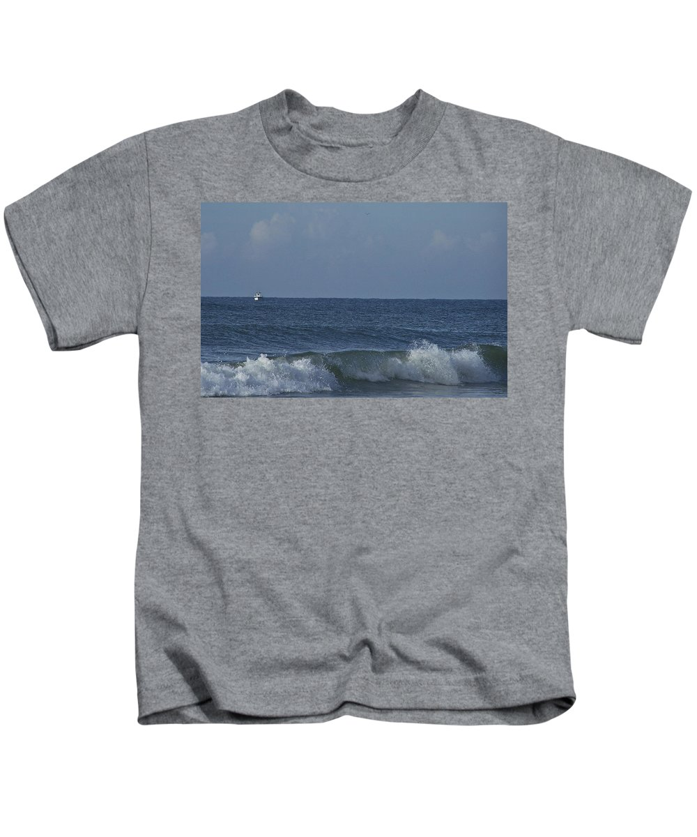 Boat Kids T-Shirt featuring the photograph Lone Boat On The Horizon by Teresa Mucha