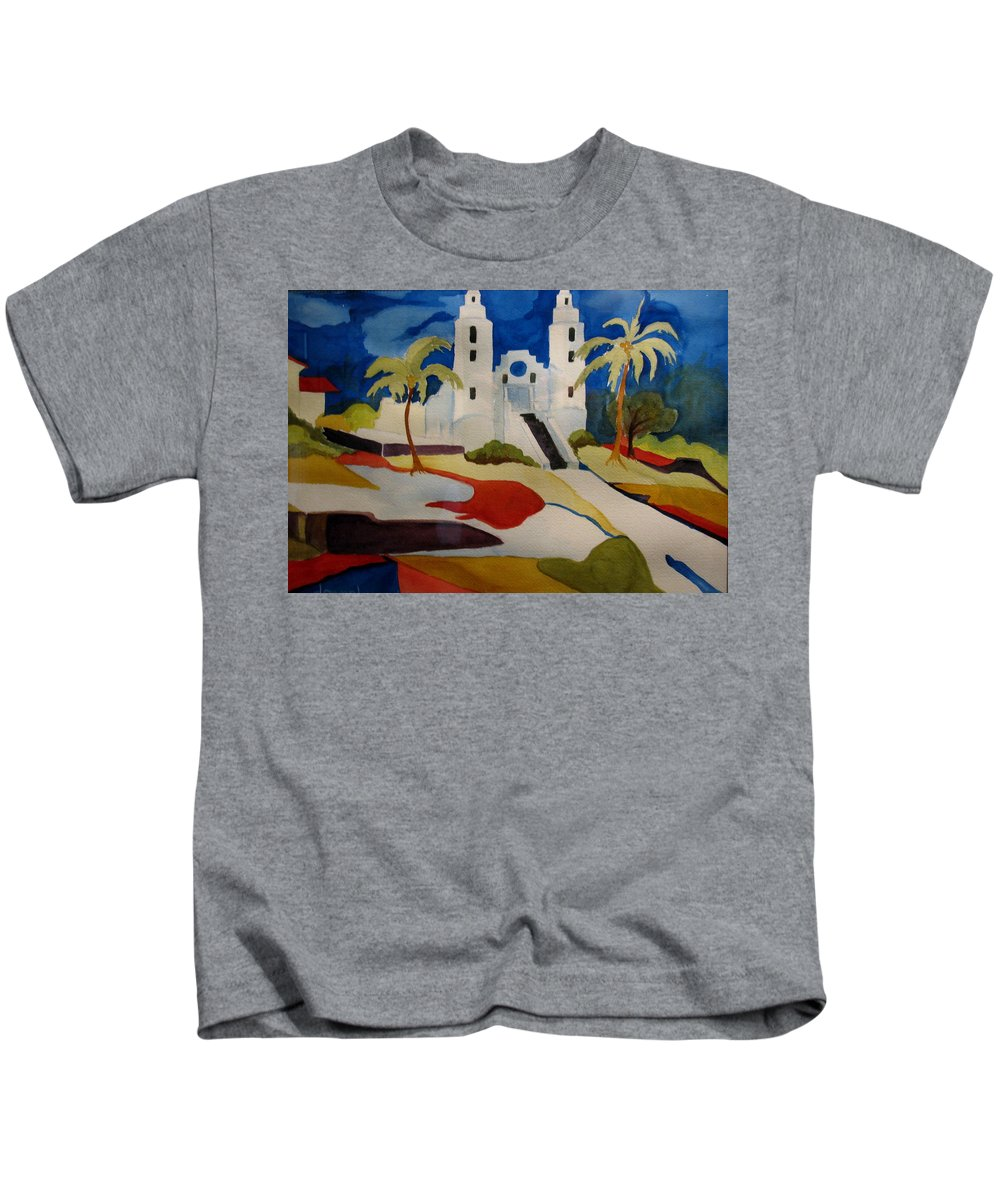 Watercolor Kids T-Shirt featuring the painting Long Island Church by Donna Steward