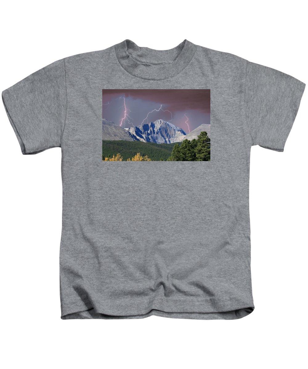 Longs Peak Kids T-Shirt featuring the photograph Longs Peak Lightning Storm Fine Art Photography Print by James BO Insogna