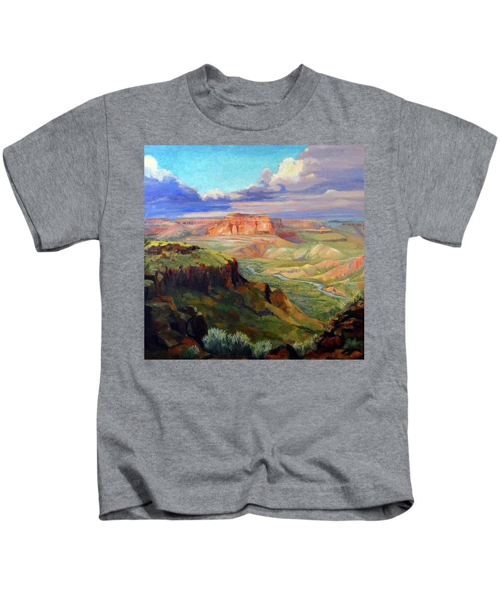 Landscape Kids T-Shirt featuring the painting Look Out At White Rock by Nancy Paris Pruden