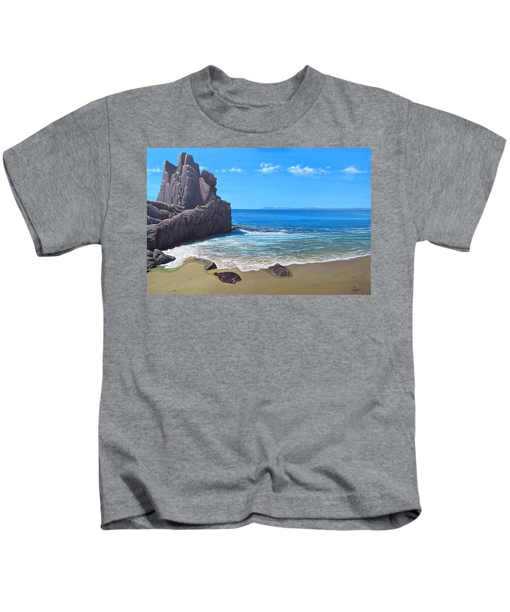 Tropical Kids T-Shirt featuring the painting Los Muertos Beach by Hunter Jay