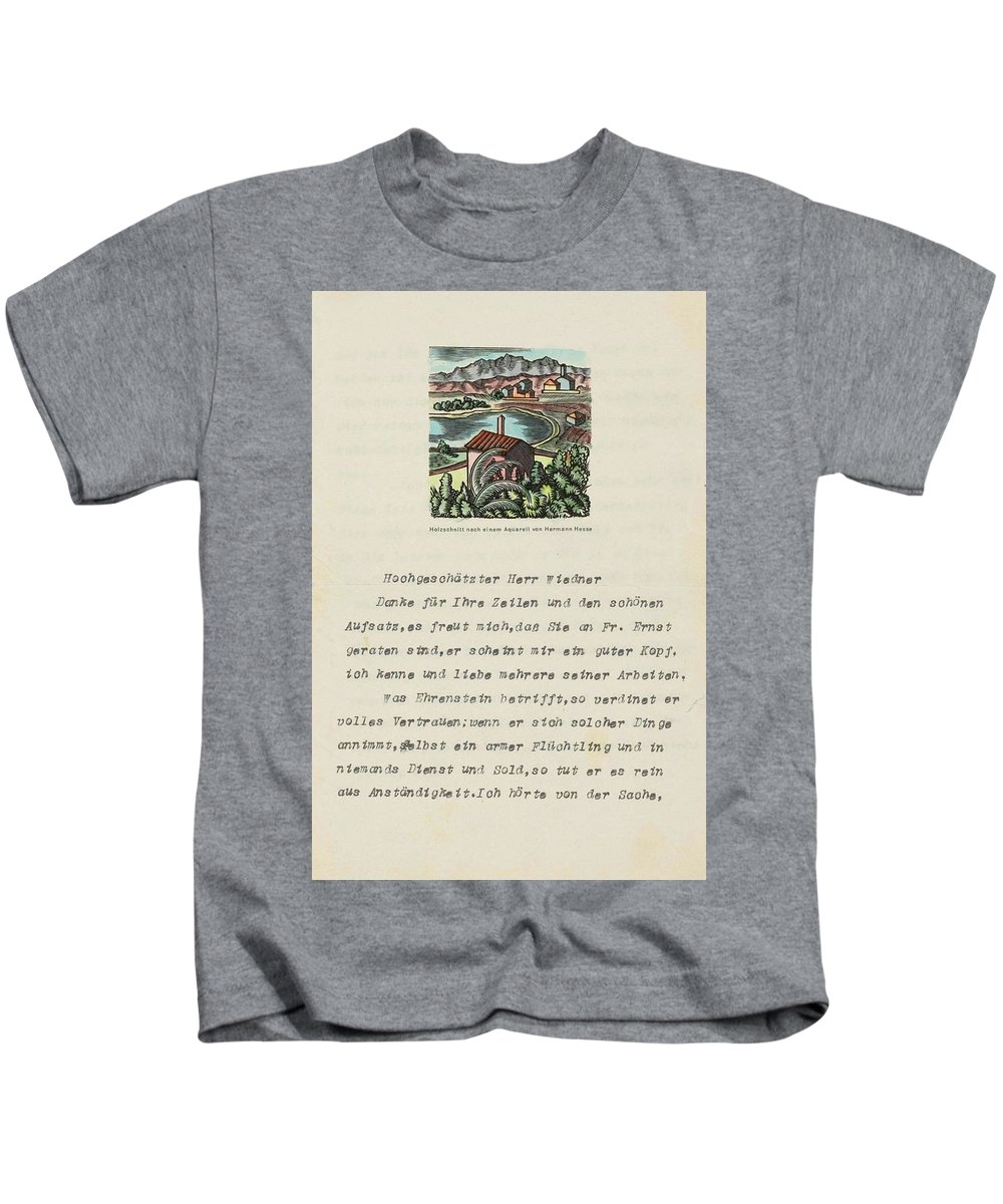 Hesse Kids T-Shirt featuring the painting Lot Of 9 Maschinenschr. by Hermannn