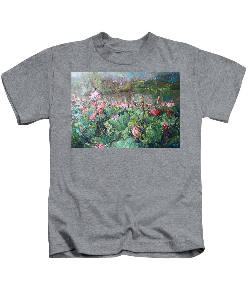 Lotus Pond Kids T-Shirt featuring the painting Lotus Pond-3 by Chao Liu