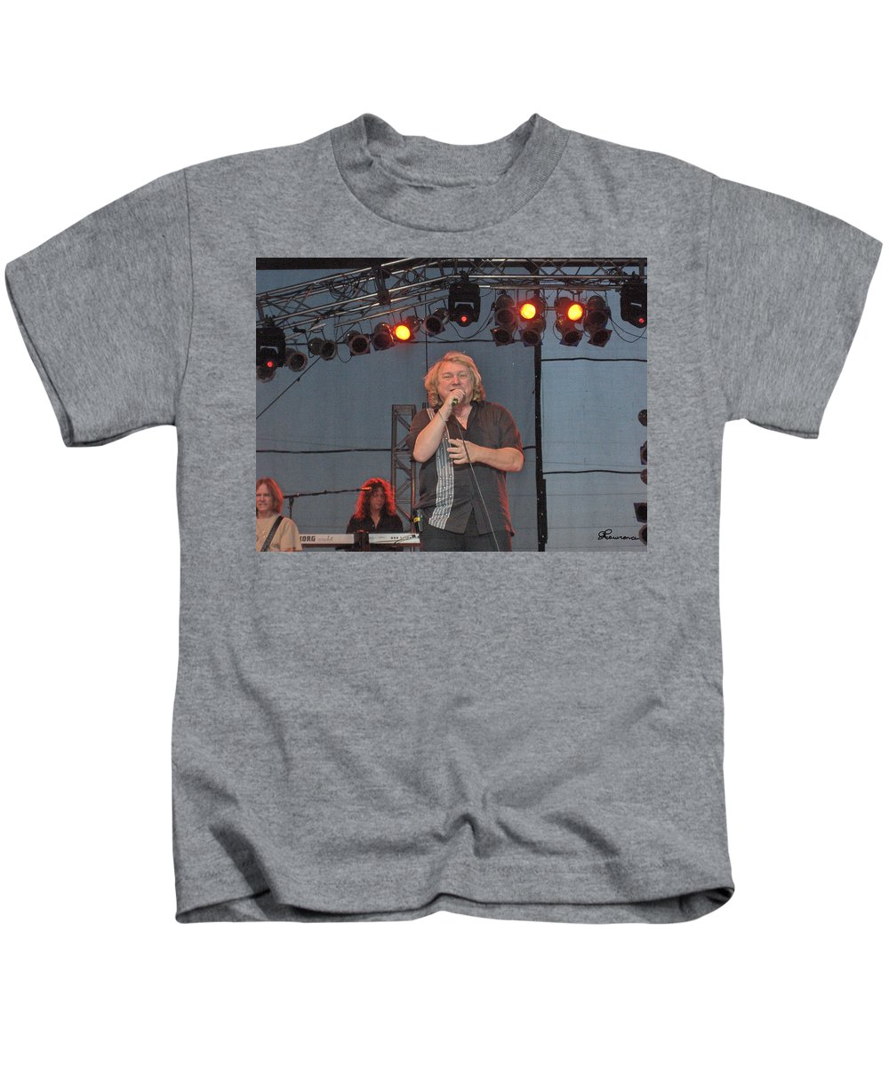 Lou Gramm Band Music Singer Rock And Roll Concert Lead Vocals Kids T-Shirt featuring the photograph Lou Gramm by Andrea Lawrence