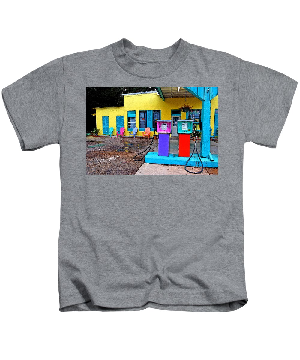 Fairhope Kids T-Shirt featuring the painting Loud Gas Pumps by Michael Thomas