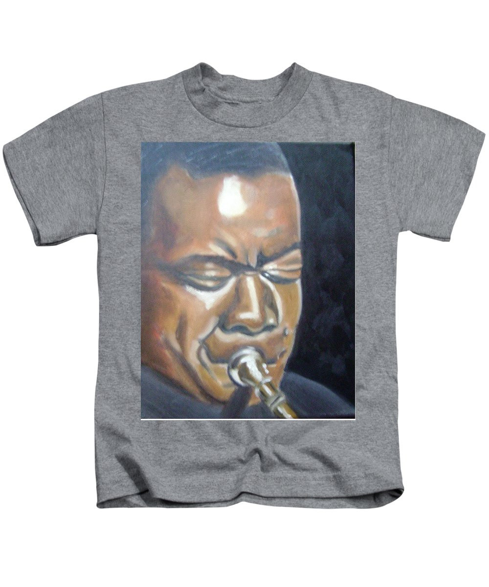 Louis Armstrong Kids T-Shirt featuring the painting Louis Armstrong by Toni Berry