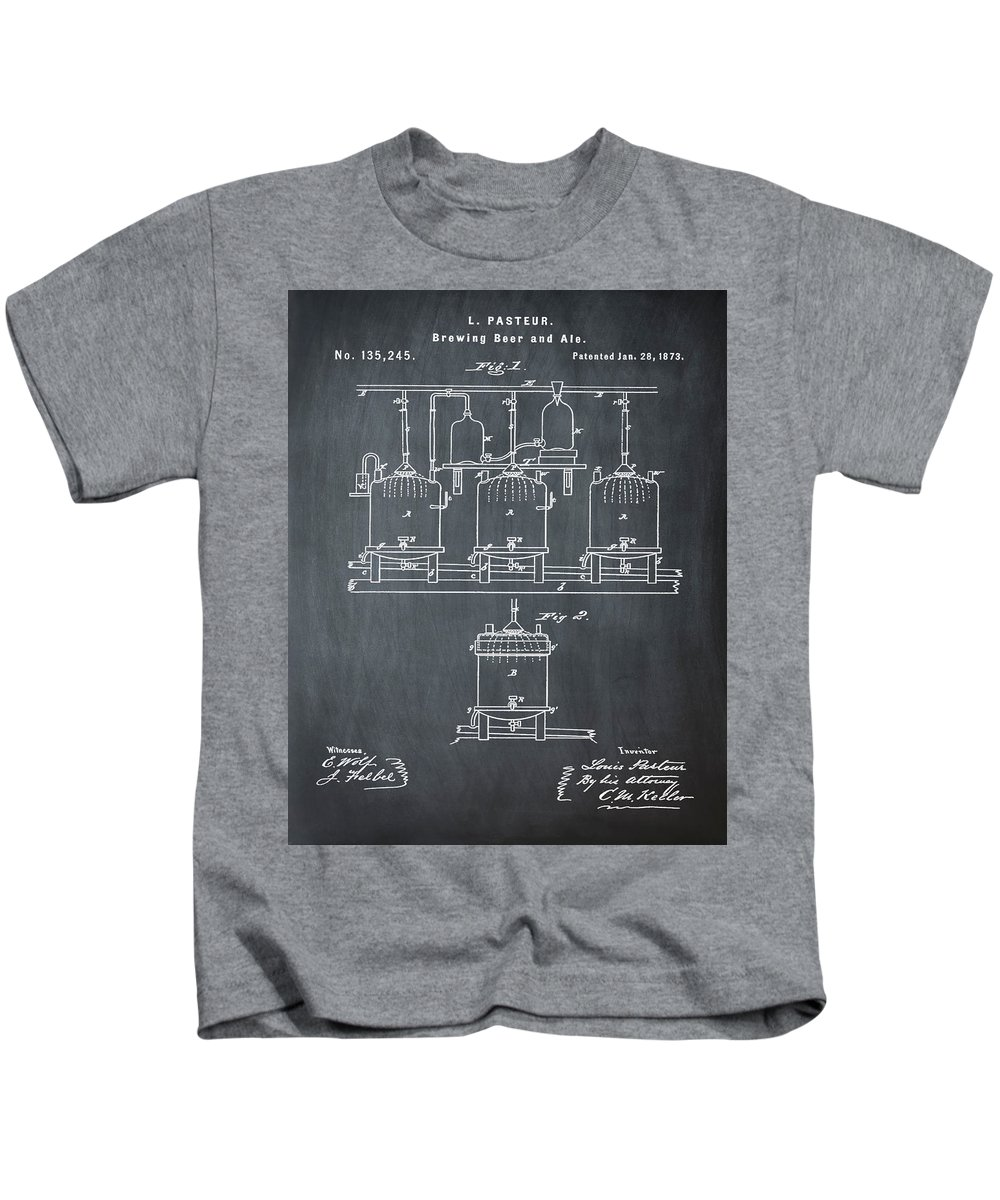 Louis Kids T-Shirt featuring the photograph Louis Pasteur Brewing Beer And Ale Patent 1873 Chalk by Bill Cannon