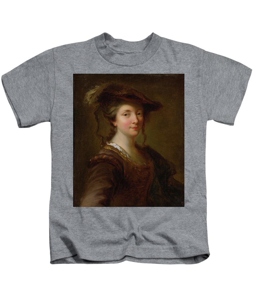 Alexis Grimou (french Baroque Era Painter Kids T-Shirt featuring the painting Louise Julie December by MotionAge Designs