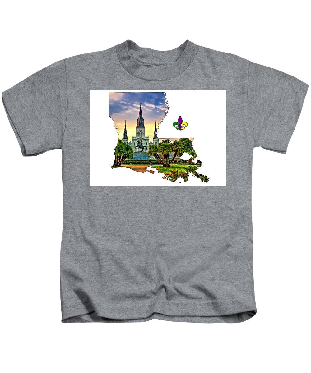 Steve Harrington Kids T-Shirt featuring the photograph Louisiana Map - St Louis Cathedral by Steve Harrington