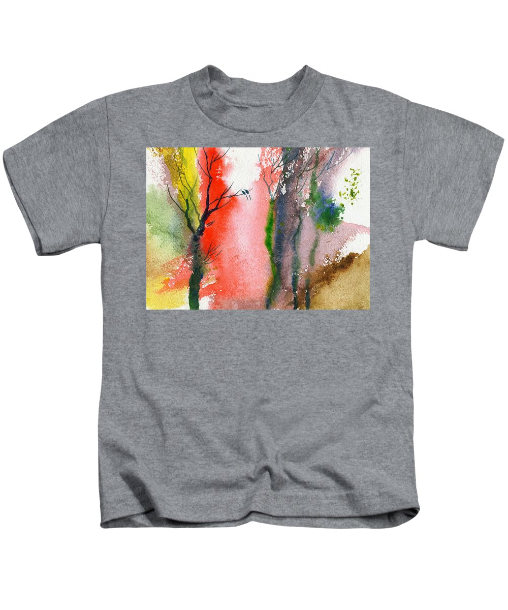 Landscape Kids T-Shirt featuring the painting Love Birds 2 by Anil Nene