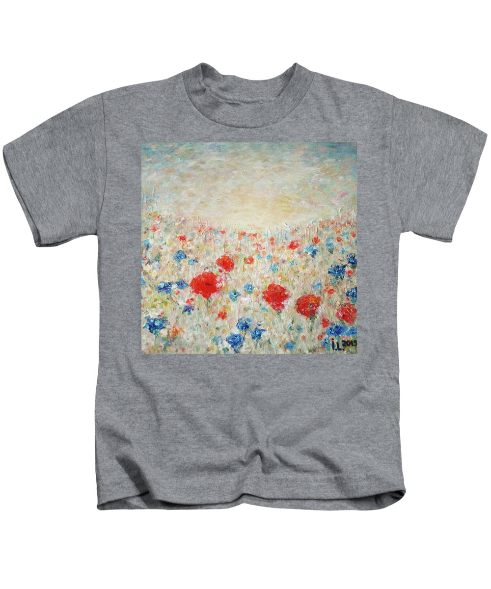 Poppy Kids T-Shirt featuring the painting Love by Inga Leitasa ArtBonBon