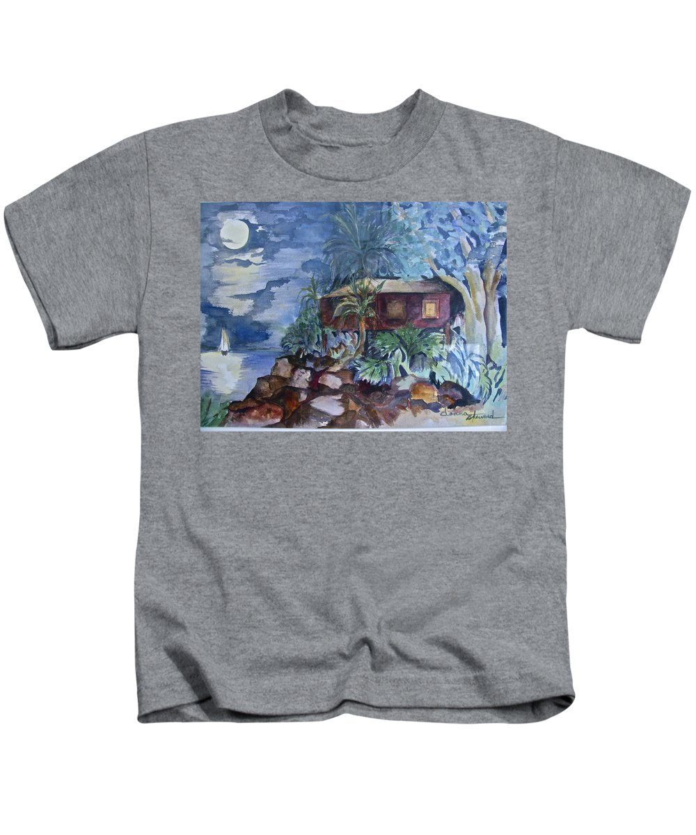 Moomlight Kids T-Shirt featuring the painting Love Shack by Donna Steward