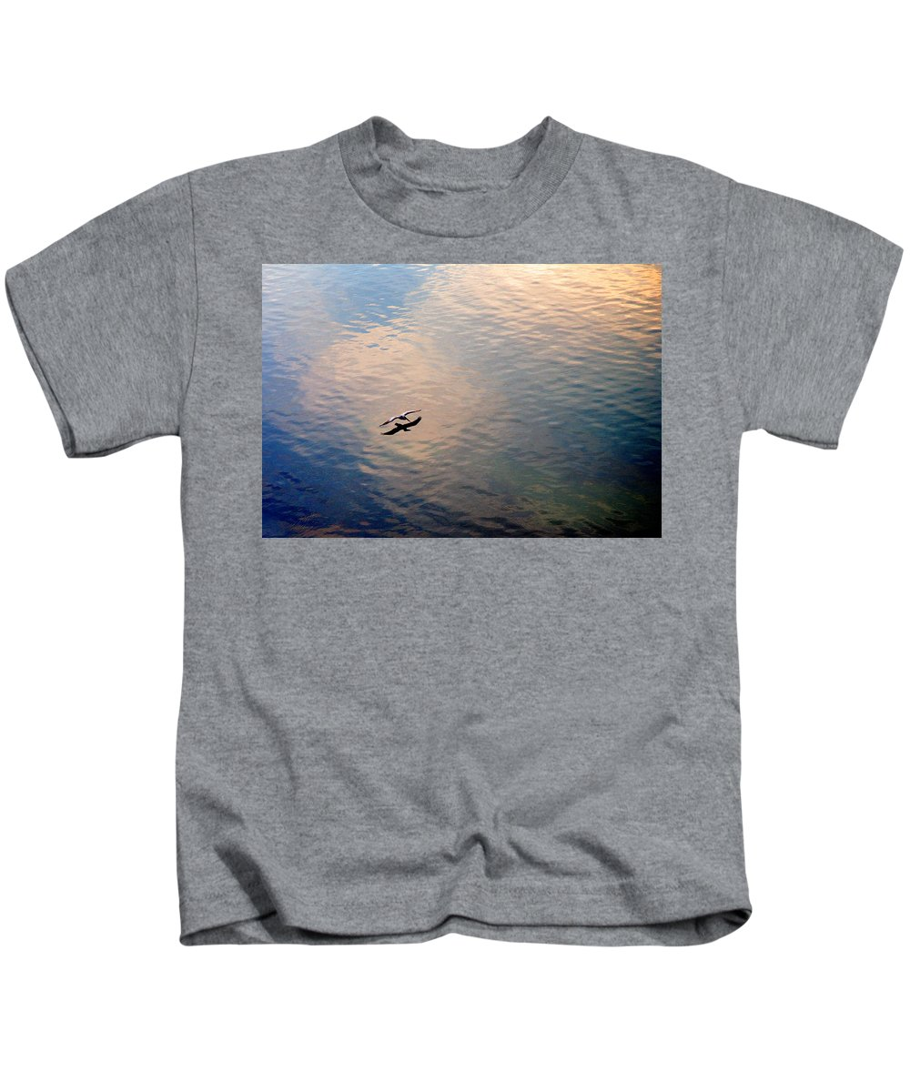 Pelican Kids T-Shirt featuring the photograph Low Flight by Mal Bray