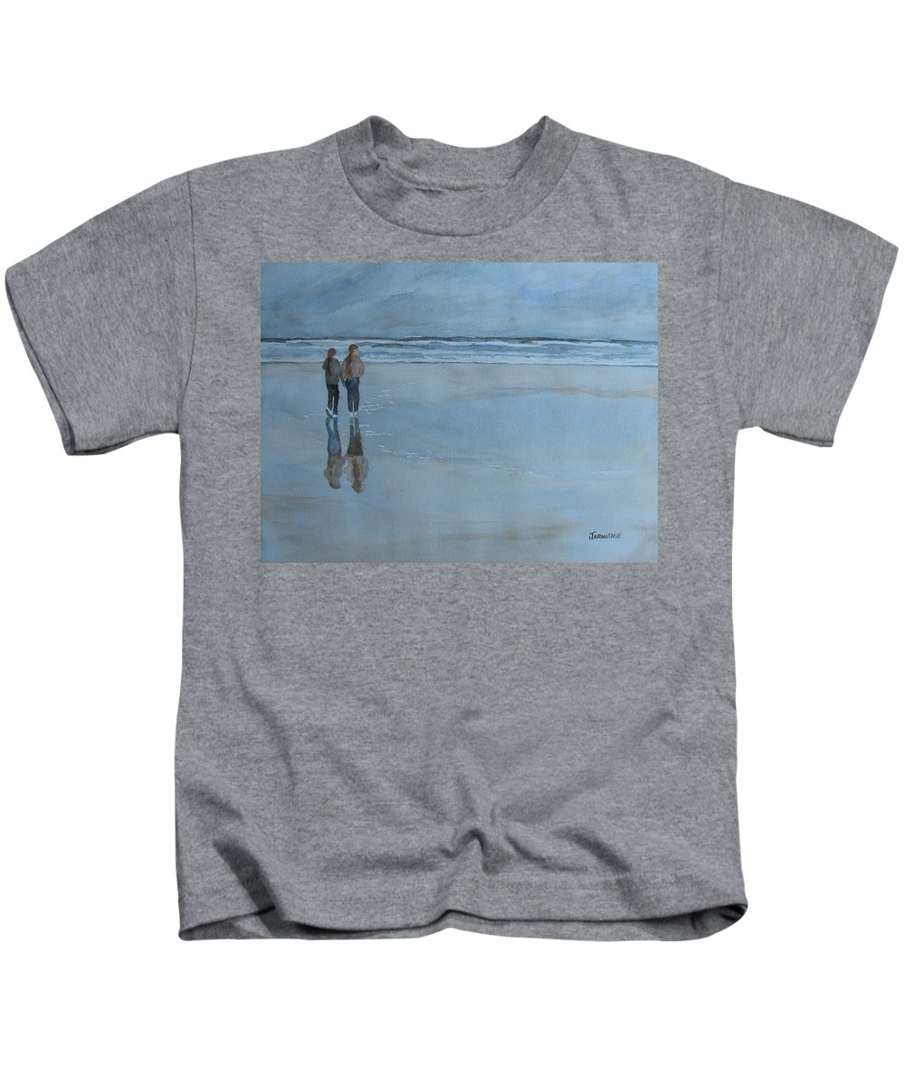 Girls Kids T-Shirt featuring the painting Low Tide At Agate Beach by Jenny Armitage