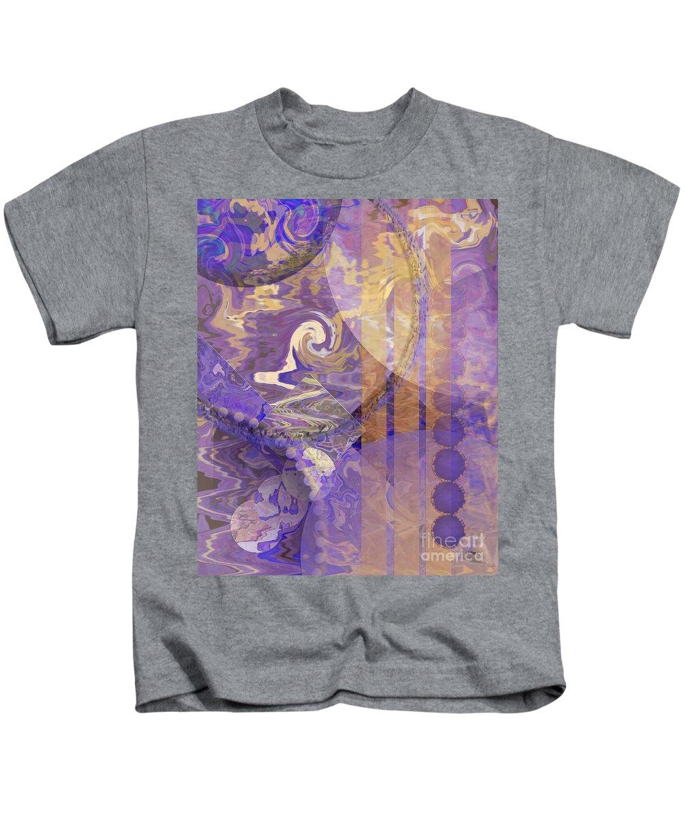 Lunar Impressions Kids T-Shirt featuring the digital art Lunar Impressions by John Beck