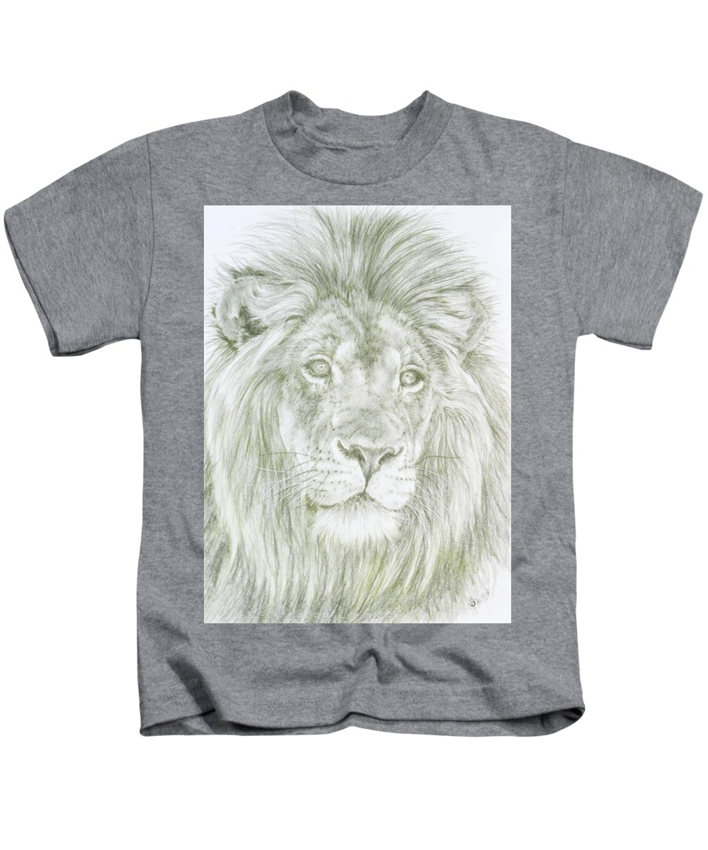 Lion Kids T-Shirt featuring the drawing Lush by Barbara Keith