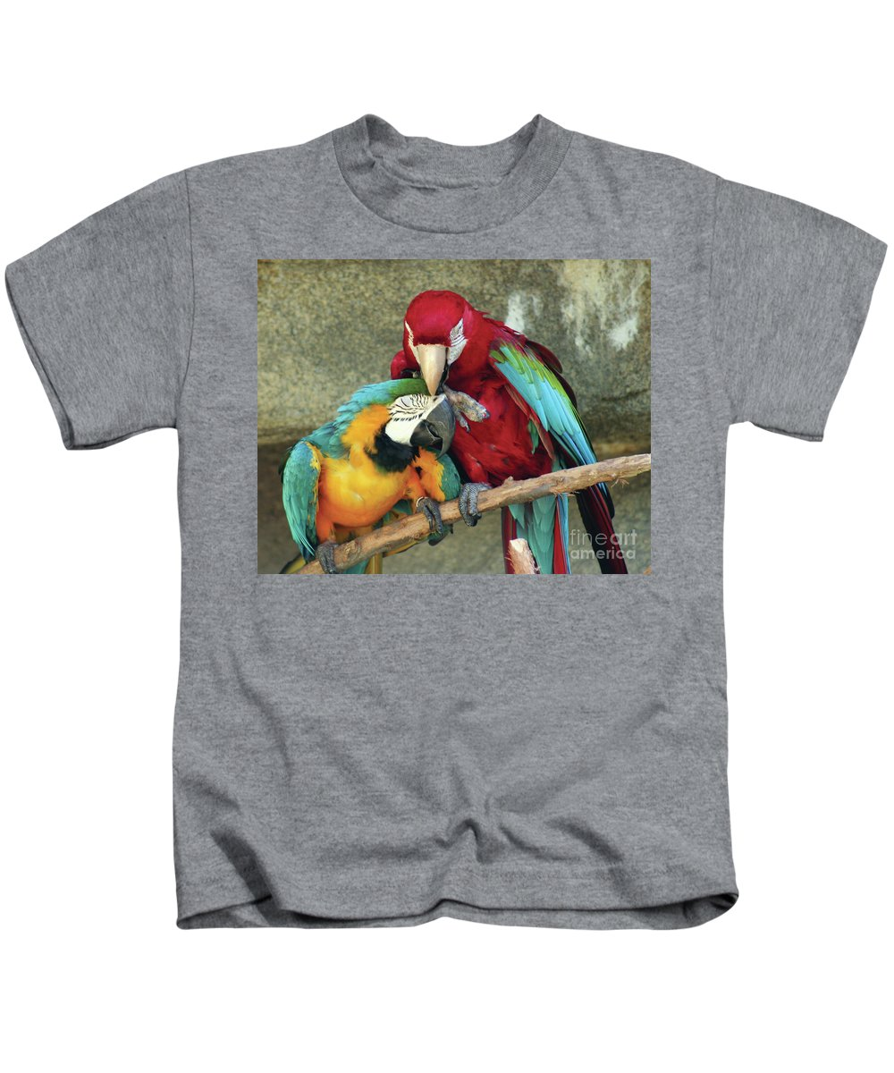 Macaws Kids T-Shirt featuring the photograph Macaw Love by Alycia Christine