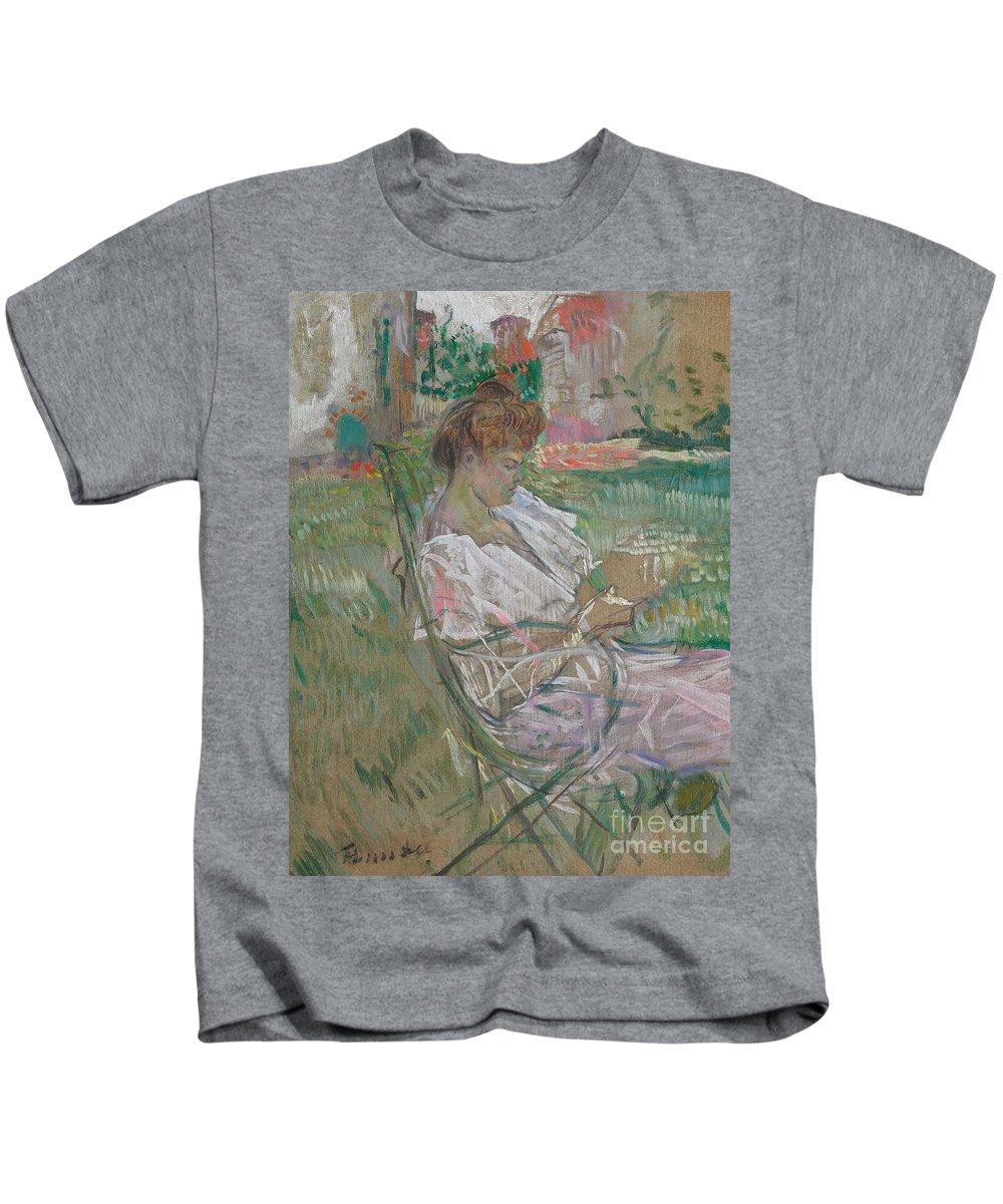 Madame Misia Natanson Kids T-Shirt featuring the painting Madame Misia Natanson by Henri de Toulouse-Lautrec