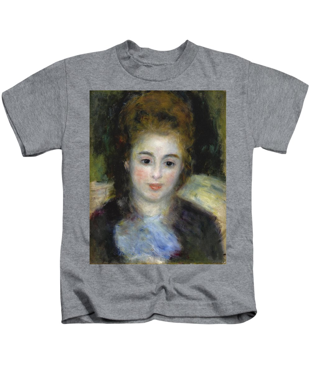 Pierre-auguste Renoir Kids T-Shirt featuring the painting Mademoiselle Henriot Or Young Girl With A Blue Ribbon by Pierre-Auguste Renoir