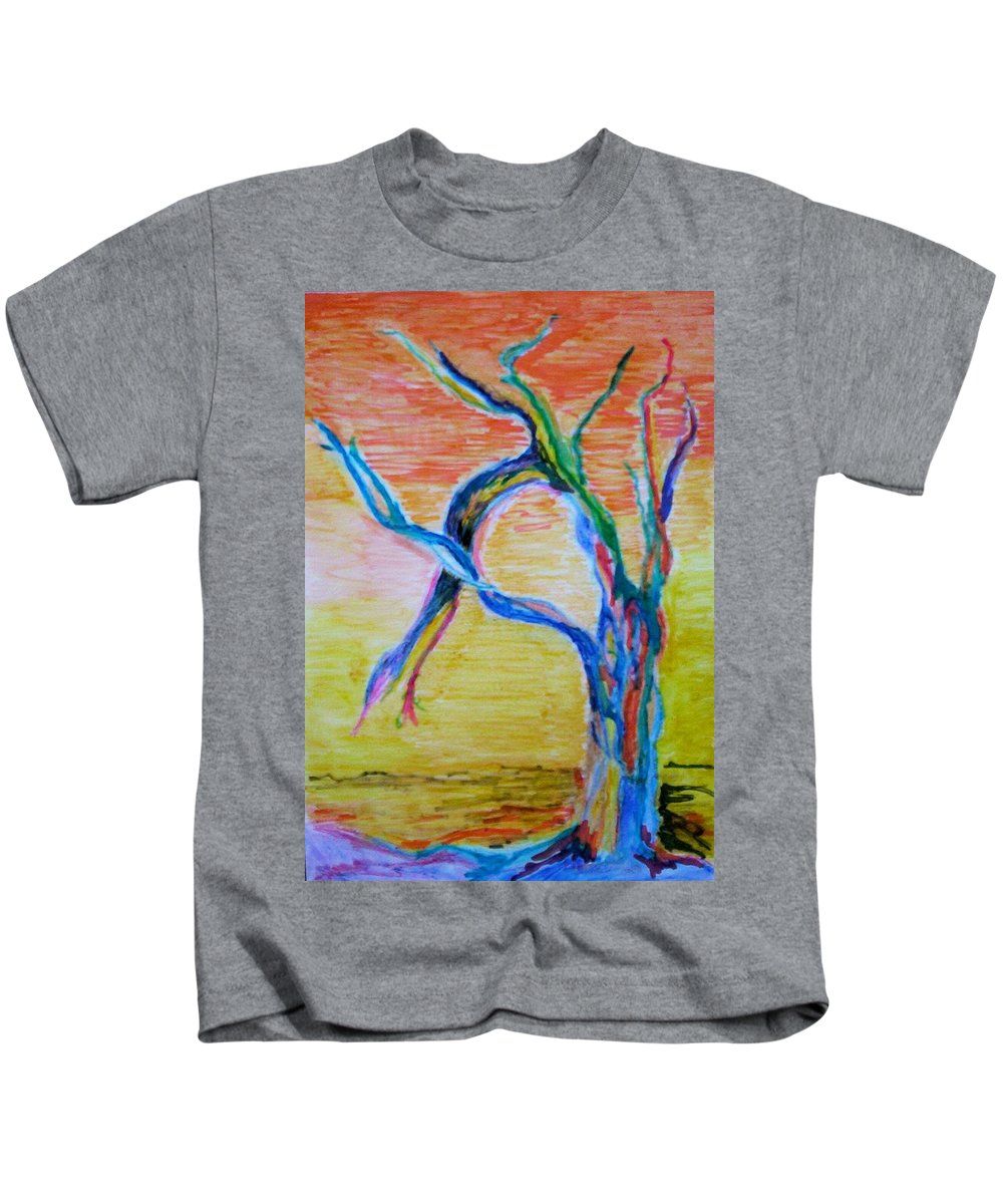 Abstract Painting Kids T-Shirt featuring the painting Magical Tree by Suzanne Udell Levinger
