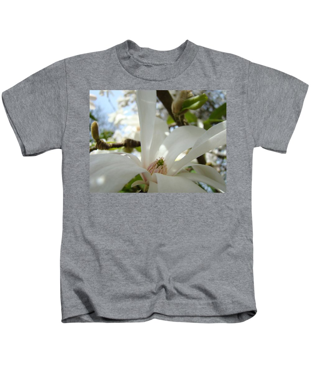 Magnolia Kids T-Shirt featuring the photograph Magnolia Flowers White Magnolia Tree Flower Art Spring Baslee Troutman by Baslee Troutman